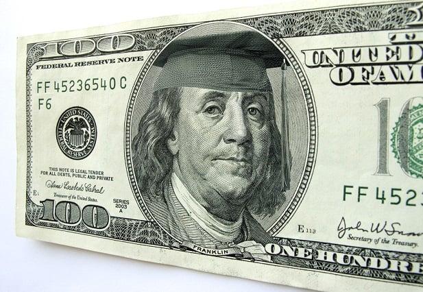 Benjamin Franklin bill with Ben wearing mortarboard hat