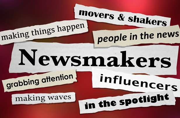 words cut out from newspapers such as newsmakers movers and shakers, influencers, on red background