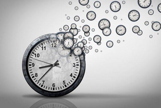 a clock dissolving into stop watches