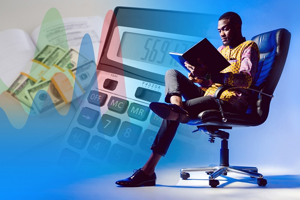 man relaxing in chair studying his portfolio collaged with calculator and money