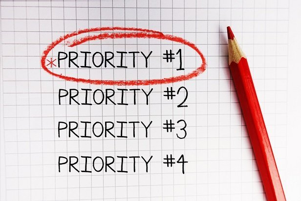 a list of priorities with Priority #1 circled in red pencil