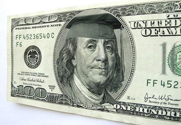 Ben Franklin on US currency wearing mortarboard