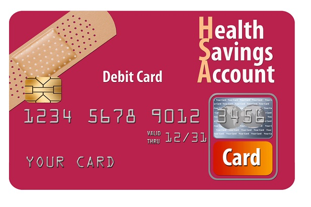 stylized HSA card in maroon with bandage