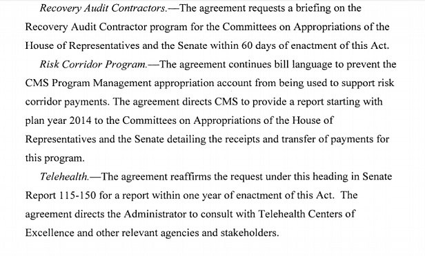 An excerpt from the official summary of the Consolidated Appropriations Act, 2018.