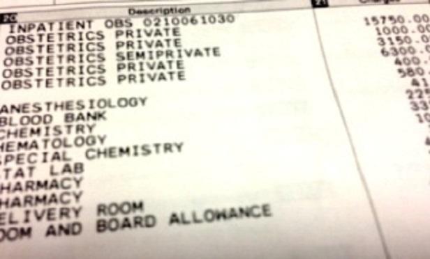 A hospital bill