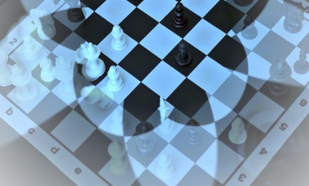 Foggy blue chessboard