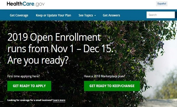 Screenshot of HealthCare.gov home page on Oct. 15, 2018
