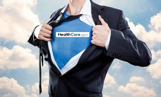 A superhero with a HealthCare.gov logo on his chest, based on a Shutterstock image with a CMS logo