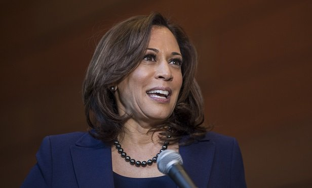Senator Kamala Harris, a Democrat from California, speaks during a press conference at Howard University in Washington, D.C., U.S., on Monday, Jan. 21, 2019. Harris said Monday she'll pursue the Democratic presidential nomination in 2020, a decision announced with deliberate symbolism on Martin Luther King Jr. Day that cuts to the heart of a potentially history-making candidacy. Photographer: Zach Gibson/Bloomberg
