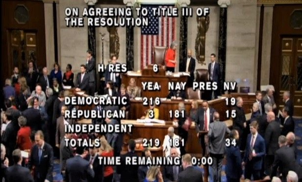A vote tally on the House live video feed. (Screen capture: House video)