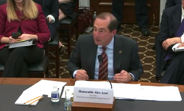 HHS Secretary Alex Azar (Photo: Screen Capture/House Appropriations)