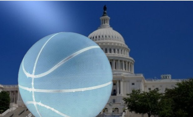 Blue basketball over the U.S. Capitol