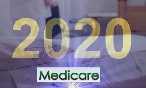 Medicare and 2020 over a picture of a neatly made bed (Includes Thinkstock 470798161 and the CMS logo)