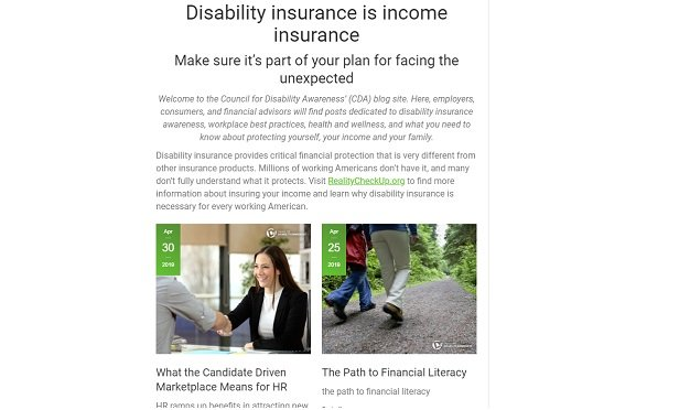 A screenshot from a key Council for Disability Awareness web page, showing general financial education