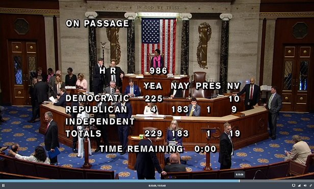 Screen shot from the live House feed toward end of voting on H.R. 986