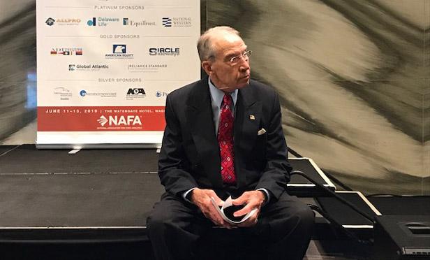 Sen. Chuck Grassley, R-Iowa, before speaking at a NAFA meeting. (Photo: Melanie Waddell/ALM)
