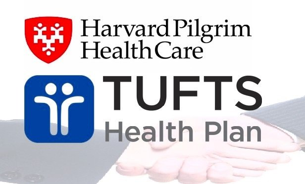 Harvard Pilgrim and Tufts Health Plan logos with handshake image