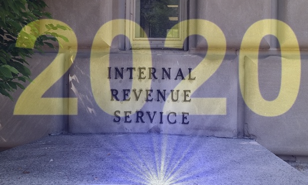 2020 over a photo of the IRS building