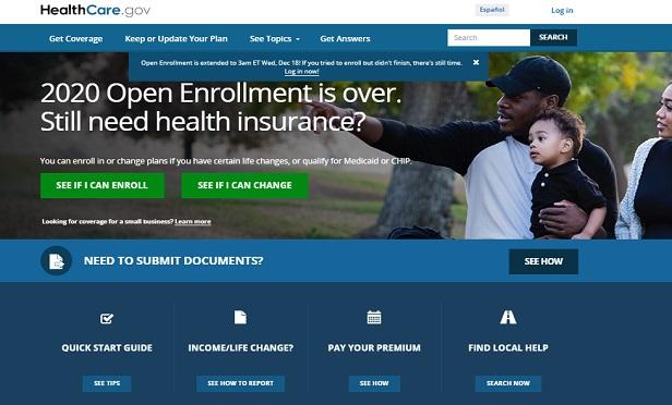 HealthCare.gov on Dec. 16, 2019