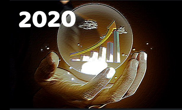 2020 superimposed over a crystal ball