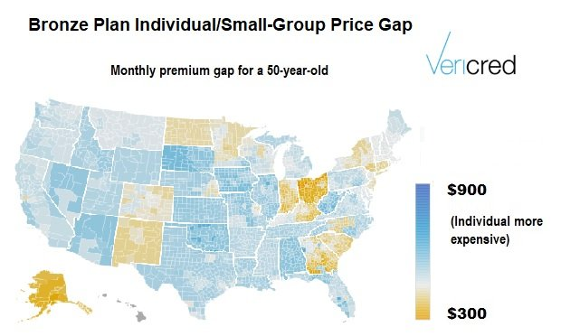 A map showing individual coverage looks a lot cheaper in some states than in others