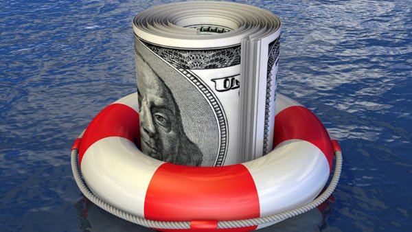 Money in a life preserver