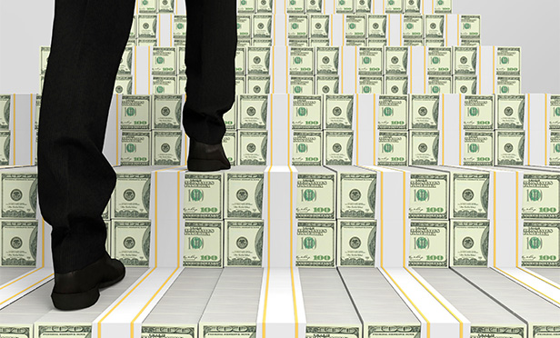 stock image of many climbing stairs with dollars on them