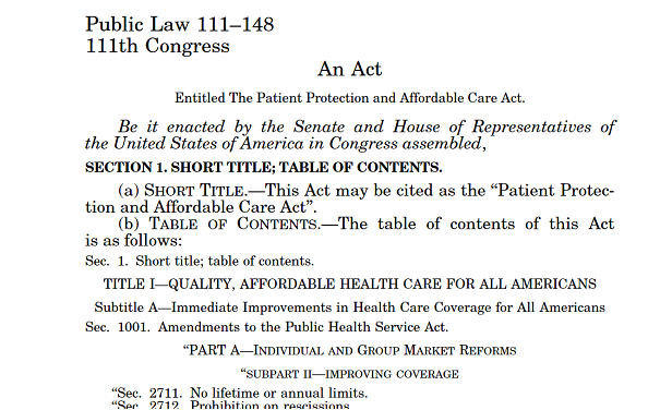 The top of the first page of PPACA
