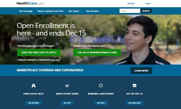 A screenshot from the HealthCare.gov homepage. It shows a young man looking at a warning that open enrollment ends Dec. 15.