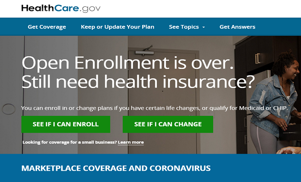A screenshot from the HealthCare.gov website saying open enrollment period